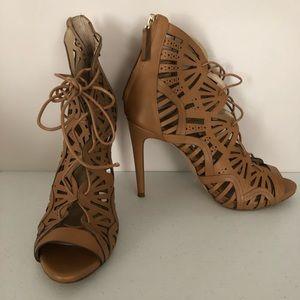Zara Woman Tan Leather Open Fretwork peeptoe heels